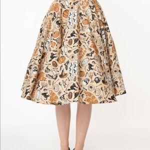 Retro Cream Halloween Print High Waist Swing Skirt